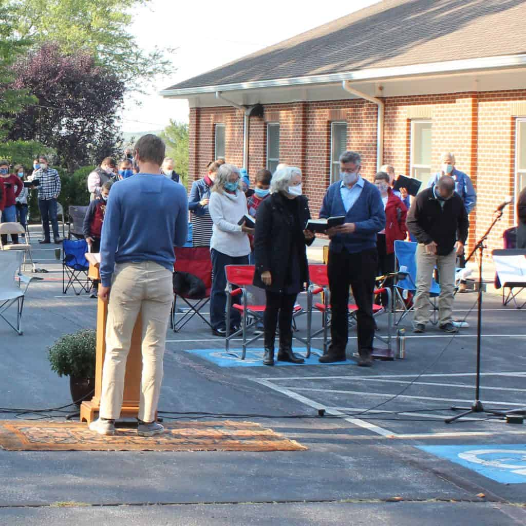 Outdoor in-person worship on October 4, 2020 at Zion Mennonite Church in Broadway, VA (Photo by Elwood Yoder)